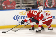 Trevor Daley #83 of the Detroit Red Wings defends against Evgenii Dadonov #63 of the Florida Panthers at the BB&T Center on October 20, 2018 in Sunrise, Florida. The Red Wings defeated the Panthers 4-3 in overtime.
