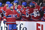 Tomas Plekanec #14 of the Montreal Canadiens celebrates his first period goal, in his 1000th career NHL game against the Detroit Red Wings at the Bell Centre on October 15, 2018 in Montreal, Quebec, Canada.  The Montreal Canadiens defeated the Detroit Red Wings 7-3.