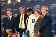(L-R) Agent Scott Boras, CEO and general manager Dave Dombrowski of the Detroit Tigers, Prince Fielder, owner Mike Ilitch and manager Jim Leyland pose during a press conference amnnouncing the signing of Fielder at Comerica Park on January 26, 2012 in Detroit, Michigan.