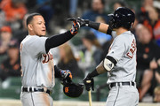 Miguel Cabrera #24 of the Detroit Tigers celebrates a three run home run in the second inning with Nicholas Castellanos #9 during a baseball game against the Baltimore Orioles at Oriole Park at Camden Yards on April 28, 2018 in Baltimore, Maryland.