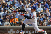 Anthony Rizzo #44 of the Chicago Cubs drives in a run in the 7th inning against the Detroit Tigers at Wrigley Field on July 3, 2018 in Chicago, Illinois.