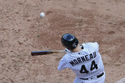 Justin Morneau #44 of the Chicago White Sox hits a run scoring double in the 8th inning against the Detroit Tigers at U.S. Cellular Field on September 7, 2016 in Chicago, Illinois. The White Sox defeated the Tigers 7-4.