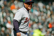 Miguel Cabrera #24 of the Detroit Tigers smiles after making an out against the Chicago White Sox during the fourth inning at Guaranteed Rate Field on April 7, 2018 in Chicago, Illinois. The Detroit Tigers won 6-1.