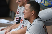 Miguel Cabrera #24 of the Detroit Tigers sits in the dugout as he watches a game against the Kansas City Royals in the fourth inning at Kauffman Stadium on May 3, 2018 in Kansas City, Missouri.