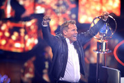 """Jury member Dieter Bohlen gestures during the season 16 finals of the tv competition show """"Deutschland sucht den Superstar"""" (DSDS) at Coloneum on April 27, 2019 in Cologne, Germany."""