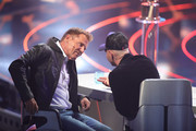 """(L-R) Jury members Dieter Bohlen and Pietro Lombardi gesture during the season 16 finals of the tv competition show """"Deutschland sucht den Superstar"""" (DSDS) at Coloneum on April 27, 2019 in Cologne, Germany."""