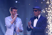 """Lukas Kepser and Xavier Naidoo during the first event show of the tv competition """"Deutschland sucht den Superstar"""" (DSDS) at Coloneum on April 6, 2019 in Cologne, Germany. For Season 16, RTL and Dieter Bohlen engaged German soul singer Xavier Naidoo, Season 8's winner Pietro Lombardi and professional dancer Oana Nechiti to be a judge on the show."""