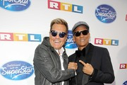 """Jurors Dieter Bohlen and Xavier Naidoo attend the season 16 finals of the tv competition show """"Deutschland sucht den Superstar"""" (DSDS) at Coloneum on April 27, 2019 in Cologne, Germany."""