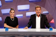 Mandy Capristo and Dieter Bohlen attend the 'Deutschland sucht den Superstar' jury photocall on October 7, 2014 in Cologne, Germany.