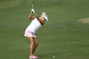 Lexi Thompson plays her second shot on the second hole during the third round of the Diamond Resorts Tournament of Champions at Tranquilo Golf Course at Four Seasons Golf and Sports Club Orlando on January 18, 2020 in Lake Buena Vista, Florida.