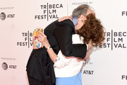 "Director Kent Jones embraces actress Andrea Martin before a screening of ""Diane"" during the 2018 Tribeca Film Festival at SVA Theatre on April 22, 2018 in New York City."