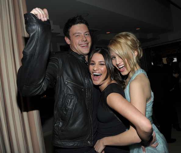 (L-R) Actor Cory Monteith, actresses Lea Michele, and Dianna Agron attend