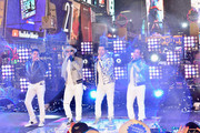 Jonathan Knight, Donnie Wahlberg, Jordan Knight and Danny Wood of New Kids on the Block perform on stage during Dick Clark's New Year's Rockin' Eve With Ryan Seacrest 2019 on December 31, 2018 in New York City.