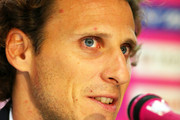 Diego Forlan attends at a news conference on joining Cerezo Osaka of J. League at Nagai Stadium on February 12, 2014 in Osaka, Japan.