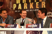 David Higgins blows a kiss to Eddie Hearn during the Dillian Whyte and Joseph Parker Press Conference at The Dorchester Hotel on June 7, 2018 in London, England.