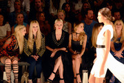 Anna Hiltrop, Mirja du Mont, Franziska Knuppe, Sophie Hermann, Cathy Hummels and Jenny Elvers attend the Dimitri show during the Mercedes-Benz Fashion Week Berlin Spring/Summer 2017 at Erika Hess Eisstadion on June 30, 2016 in Berlin, Germany.
