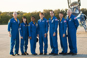 (R-L) Commander Alan Poindexter, Pilot James P. Dutton Jr., mission specialists Rick Mastracchio,  Dorothy Metcalf-Lindenburger, Stephanie Wilson, Japan Aerospace Exploration Agency astronaut Naoko Yamazaki and NASA astronaut Clayton Anderson address the media after arriving at the shuttle landing facility at Kennedy Space Center in their T-38 jets March 1, 2010, in Cape Canaveral, Florida.   The astronauts are scheduled to perform a full dress rehearsal for their upcoming launch.