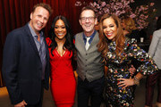 (L-R) Marc Murphy, Robin Givens, Ted Allen and Sunny Hostin attend Discovery Inc. 2019 NYC Upfront at Alice Tully Hall on April 10, 2019 in New York City.