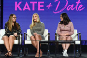 (L-R) Cara Gosselin, Kate Gosselin and Mady Gosselin of 'Kate Plus Date' speak onstage during the TLC portion of the Discovery Communications Winter 2019 TCA Tour at the Langham Hotel on February 12, 2019 in Pasadena, California.