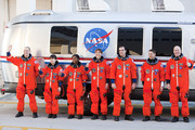 NASA's STS-131 astronauts, Commander Alan Poindexter (R-L), Pilot James P. Dutton Jr., mission specialists Rick Mastracchio,  Dorothy Metcalf-Lindenburger, Stephanie Wilson, Japan Aerospace Exploration Agency astronaut Naoko Yamazaki and NASA astronaut Clayton Anderson walk out of the operations and checkout building at Kennedy Space CenterMarch 5, 2010, in Cape Canaveral. The astronauts were participating in the Terminal Countdown Demonstration Test, a full dress rehearsal for their upcoming launch aboard Space Shuttle Discovery.