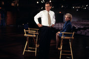New York, NY  1993: (L-R) David Letterman, Barbara Walters talking on 'Late Show with David Letterman' set at the Ed Sullivan Theater.