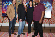 """(L-R) Actors Adam Jacobs, Jonathan Freeman, Courtney Reed and James Monroe Iglehart attend Disney's """"Aladdin"""" Broadway Press Day at the Crosby Street Hotel on October 12, 2015 in New York City."""