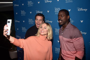 (L-R) Jonathan Groff, Kristen Bell, and Sterling K. Brown of 'Frozen 2' took part today in the Walt Disney Studios presentation at Disney's D23 EXPO 2019 in Anaheim, Calif.  'Frozen 2' will be released in U.S. theaters on November 22, 2019.