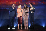 (L-R) Josh Gad, Kristen Bell, Idina Menzel, and Jonathan Groff of 'Frozen 2' took part today in the Walt Disney Studios presentation at Disney's D23 EXPO 2019 in Anaheim, Calif.  'Frozen 2' will be released in U.S. theaters on November 22, 2019.
