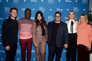 (L-R) Jonathan Groff, Sterling K. Brown, Idina Menzel, Josh Gad, Evan Rachel Wood, and Kristen Bell of 'Frozen 2' took part today in the Walt Disney Studios presentation at Disney's D23 EXPO 2019 in Anaheim, Calif.  'Frozen 2' will be released in U.S. theaters on November 22, 2019.