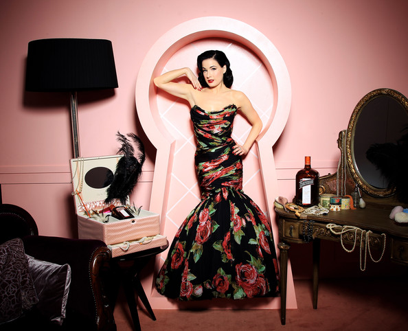 Global ambassador for Cointreau Dita Von Teese poses for a portrait to promote the launch of the limited edition 'My Private Cointreau Coffret' at Selfridges on October 22, 2010 in London, England. The unique beauty essential & cocktail kit has been designed by Dita Von Teese and is available exclusively at Selfridges.
