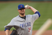 Jon Lester #34 of the Chicago Cubs delivers a pitch against the Washington Nationals in the first inning during game two of the National League Division Series at Nationals Park on October 7, 2017 in Washington, DC.