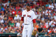 Doug Fister #38 of the Boston Red Sox reacts in the first inning against the Houston Astros during game three of the American League Division Series at Fenway Park on October 8, 2017 in Boston, Massachusetts.