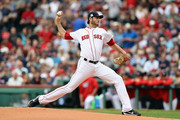 Doug Fister #38 of the Boston Red Sox throws a pitch in the first inning against the Houston Astros during game three of the American League Division Series at Fenway Park on October 8, 2017 in Boston, Massachusetts.