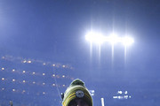 Aaron Rodgers #12 of the Green Bay Packers leaves the field after defeating the Seattle Seahawks 28-23 in the NFC Divisional Playoff game at Lambeau Field on January 12, 2020 in Green Bay, Wisconsin.