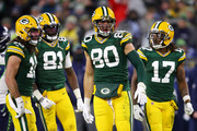 Jimmy Graham #80 of the Green Bay Packers reacts after making a reception during the fourth quarter against the Seattle Seahawks in the NFC Divisional Playoff game at Lambeau Field on January 12, 2020 in Green Bay, Wisconsin.