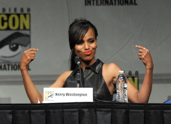"Actress Kerry Washington speaks at the ""Django Unchained"" panel during Comic-Con International 2012 at San Diego Convention Center on July 14, 2012 in San Diego, California."