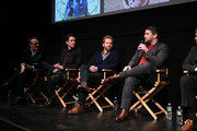Thom Powers, John Mulaney, Alex Buono, and Alex Brightman speak at the Doc Now Red Carpet and Screening at IFC Center on February 19, 2019 in New York City.