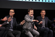 """(L-R) Fred Armisen, Bill Hader and Seth Meyers attend a panel for the New York Screening for """"Documentary Now!"""" at New World Stages on August 18, 2015 in New York City."""