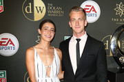 Lawrence Thomas and Ashley Brown arrive ahead of the FFA Dolan Warren Awards at The Star on May 1, 2017 in Sydney, Australia.