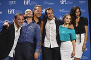 """(L-R) Director Richard Shepard, actor Jude Law, actor Richard E. Grant, actor Demian Bichir, actress Emilia Clarke and actress Madalina Ghenea attend """"Dom Hemingway"""" Press Conference during the 2013 Toronto International Film Festival at TIFF Bell Lightbox on September 9, 2013 in Toronto, Canada."""