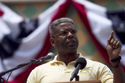 Congressman Allen West speaks to a crowd at the 2011 Palm Beach County Tax Day Tea Party on April 16, 2011 at Sanborn Square in Boca Raton,  Florida.    Donald Trump will also speak, and is considering a bid for the 2012 presidency he is expected to announce his running in the coming weeks.