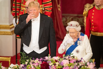 Donald Trump Queen Elizabeth II US President Trump's State Visit To UK - Day One