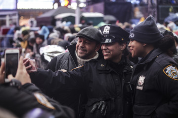 Donnie Wahlberg Revelers Celebrate New Year's Eve In New York's Times Square