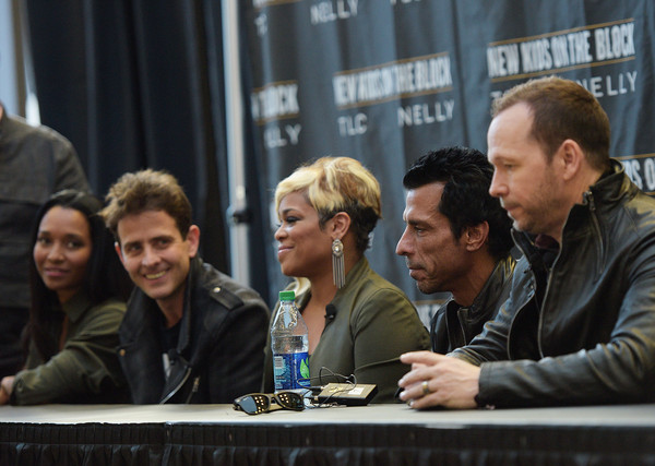 New Kids on the Block Press Conference [new kids on the block press conference,people,human,event,conversation,design,convention,adaptation,architecture,table,news conference,danny wood,donnie wahlberg,joey mcintyre,t-boz,chilli,madison square garden,new york city]