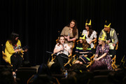 "Angela Kim moderates the panel of (back row L-R) Lauren Ash, Karen Fukuhara and Marcus Scribner and (front row L-R) Noelle Stevenson, Aimee Carrero and AJ Michalka during the DreamWorks ""She-Ra and the Princesses of Power"" Fan Screening at DreamWorks Animation on April 25, 2019 in Glendale, California."