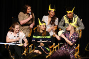 "(back row L-R) Lauren Ash, Karen Fukuhara and Marcus Scribner and (front row L-R) Noelle Stevenson, Aimee Carrero and AJ Michalka speak onstage during the DreamWorks ""She-Ra and the Princesses of Power"" Fan Screening at DreamWorks Animation on April 25, 2019 in Glendale, California."