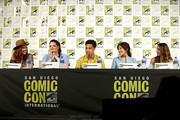 (L-R) Noelle Stevenson, Lauren Ash, Marcus Scribner, Karen Fukuhara and Aimee Carrero attend DreamWorks She-Ra and the Princesses of Power at San Diego Comic-Con 2019 at San Diego Convention Center on July 19, 2019 in San Diego, California.