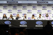 "(L-R) Dana Schwartz, Noelle Stevenson, Aimee Carrero, AJ Michalka, Lauren Ash, Karen Fukuhara, Marcus Scribner and Merit Leighton speak on stage during DreamWorks ""She-Ra and the Princesses of Power"" ˆat WonderCon at Anaheim Convention Center on March 30, 2019 in Anaheim, California."