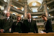 (L-R) Prince Edward, Duke of Kent, Daniela Schadt, German President Joachim Gauck and Helma Orosz, Mayor of Dresden attend a ceremony in Frauenkirche during the commemoration of the 70th anniversary of the Allied firebombing of Dresden on February 13, 2015 in Dresden, Germany. On February 13-14, 1945, U.S. and British bombers attacked in successive raids that devastated the city and killed at least 25,000 people. The formation of a human chain has become an annual occurrence that not only commemorates the bombing but also makes a statement against local neo-Nazis, who in years passed have sought to use the anniversary to their own ends.