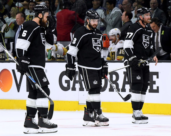 Vegas Golden Knights vs. Los Angeles Kings - Game Four [college ice hockey,ice hockey,sports gear,ice hockey position,hockey protective equipment,jersey,player,defenseman,team sport,hockey pants,game four,jake muzzin 6,jeff carter,drew doughty 8,timeout,bench,los angeles kings,los angeles,golden knights,western conference]